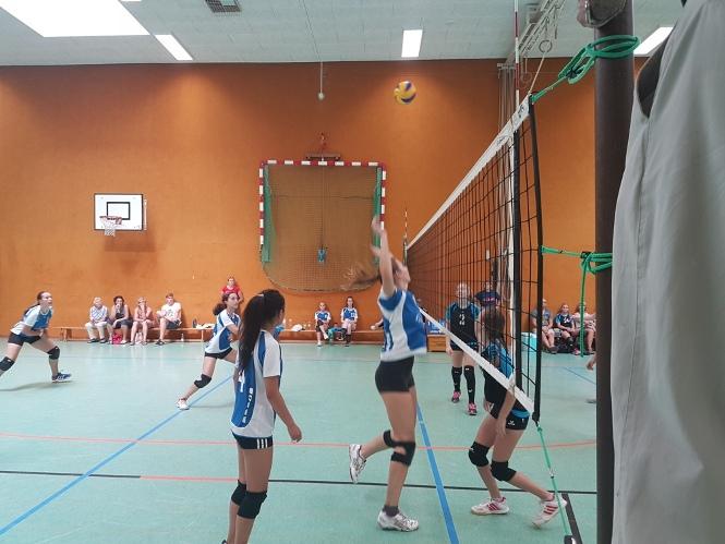 oben ohne mädchen spielen volleyball